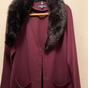 Kelly- Ponte Jacket w/ Removable Faux Fur Collar